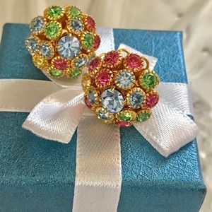 Jewelry - Vintage Flower Earrings with Colored Crystals